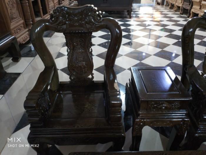 Bộ bàn ghế giả cổ trạm voi gỗ mun đuôi công8