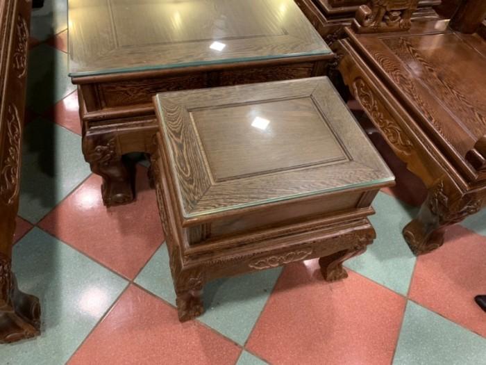Bộ bàn ghế giả cổ trạm voi gỗ mun đuôi công12