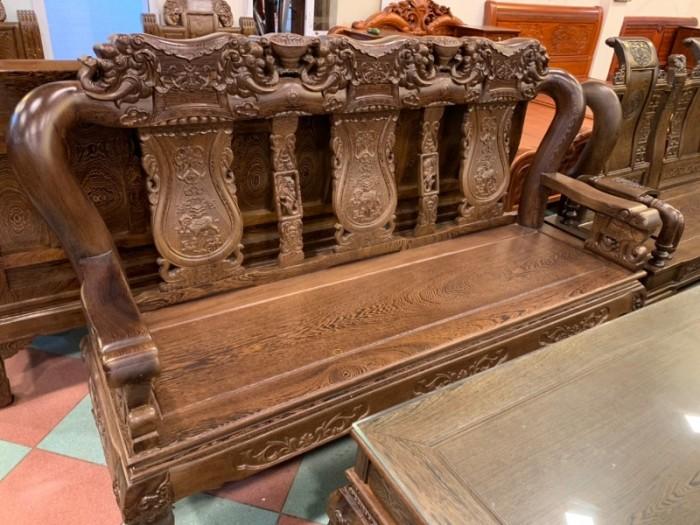 Bộ bàn ghế giả cổ trạm voi gỗ mun đuôi công5
