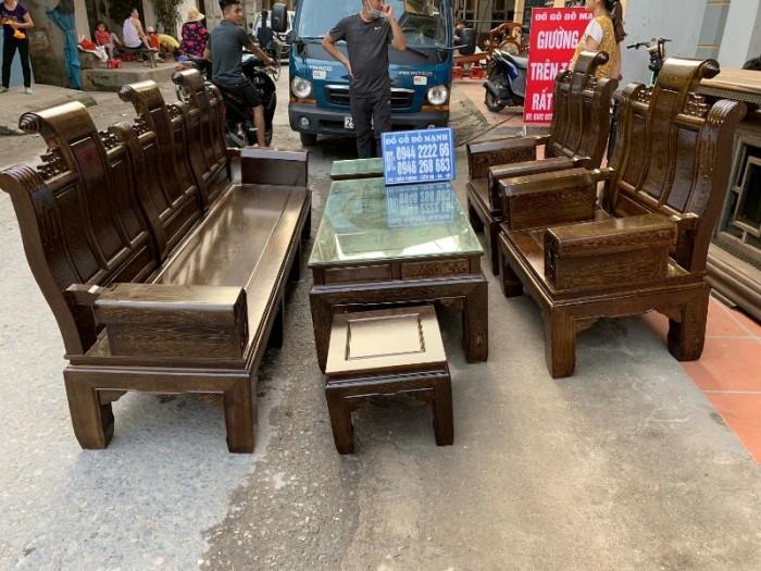 Bộ bàn ghế âu á hộp gỗ mun đuôi công19