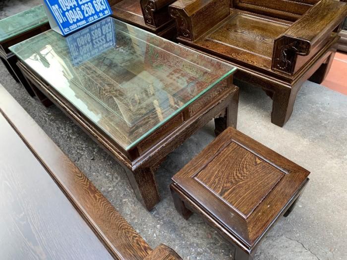 Bộ bàn ghế âu á hộp gỗ mun đuôi công18