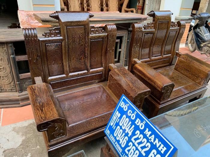 Bộ bàn ghế âu á hộp gỗ mun đuôi công16
