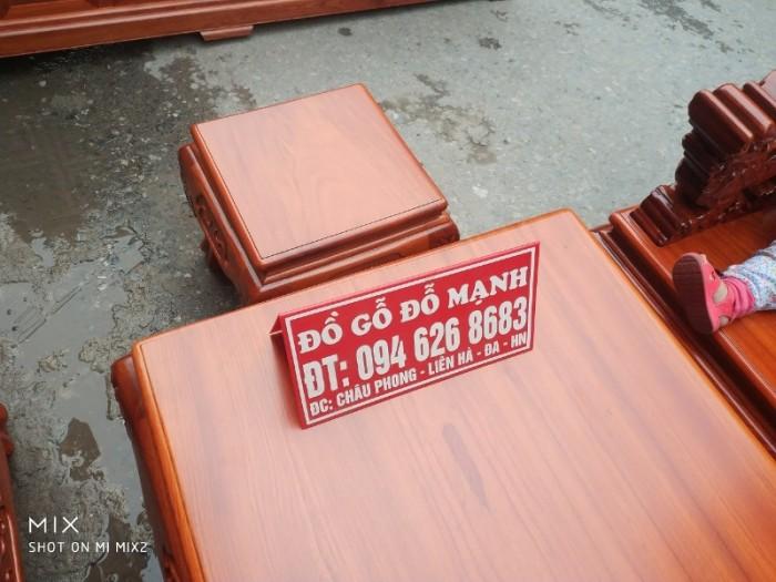 Bộ Bàn Ghế Nghê Đỉnh 3 đầu tay 12 gỗ gõ đỏ,kate14