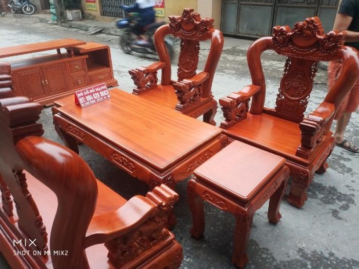Bộ Bàn Ghế Nghê Đỉnh 3 đầu tay 12 gỗ gõ đỏ,kate15