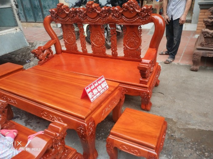 Bộ Bàn Ghế Nghê Đỉnh 3 đầu tay 12 gỗ gõ đỏ,kate21