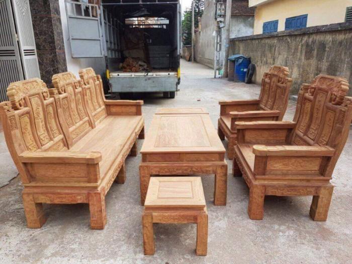 Bộ Bàn Ghế Kiểu Âu Á Hộp Như Ý Voi, Tay Đặc gỗ hương vân bộ 2m2 và 2m44