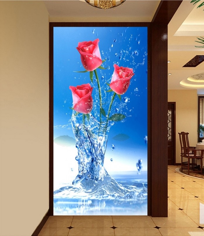 gạch tranh 3d hoa hồng trang trí3