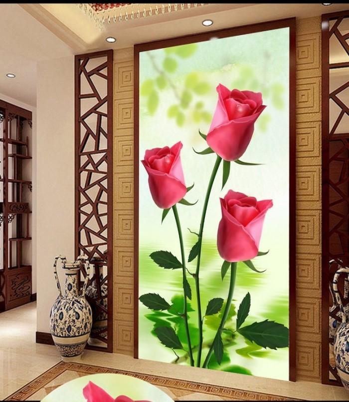 gạch tranh 3d hoa hồng trang trí2