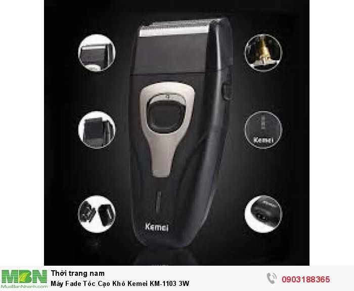 Máy cạo râu tóc KEMEI KM-1103 Bộ sản phẩm máy cạo khô KEMEI KM-1103 sẽ giúp bạn cạo râu, cạo trắng chấn FADE 1 cách dễ dàng. Sản phẩm phù hợp cho các tiệm tóc, salon cắt tóc. barber shop chuyên nghiệp.