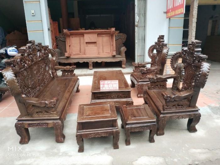 Bộ bàn ghế nghê đỉnh tay khuỳnh gỗ mun đuôi công4