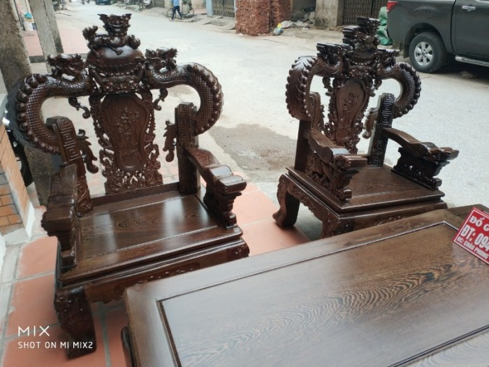 Bộ bàn ghế nghê đỉnh tay khuỳnh gỗ mun đuôi công