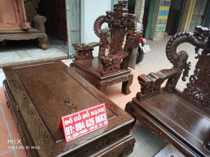 Bộ bàn ghế nghê đỉnh tay khuỳnh gỗ mun đuôi công6