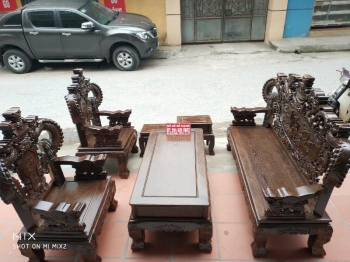 Bộ bàn ghế nghê đỉnh tay khuỳnh gỗ mun đuôi công7