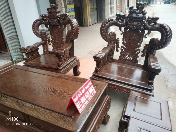 Bộ bàn ghế nghê đỉnh tay khuỳnh gỗ mun đuôi công10