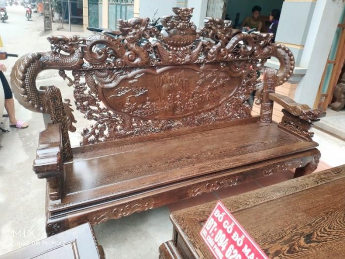 Bộ bàn ghế nghê đỉnh tay khuỳnh gỗ mun đuôi công8