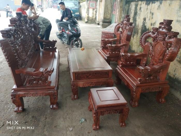 Bộ bàn ghế nghê đỉnh tay khuỳnh gỗ mun đuôi công12