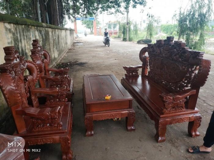 Bộ bàn ghế nghê đỉnh tay khuỳnh gỗ mun đuôi công11