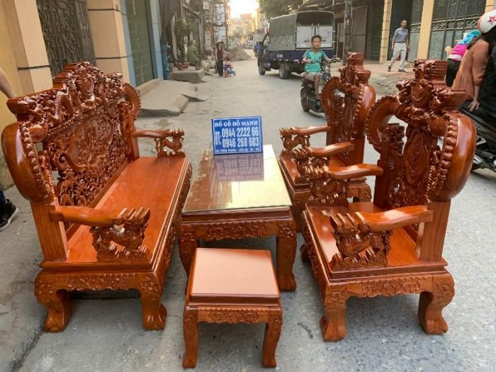 Bộ bàn ghế nghê đỉnh tay khuỳnh gỗ gõ đỏ13