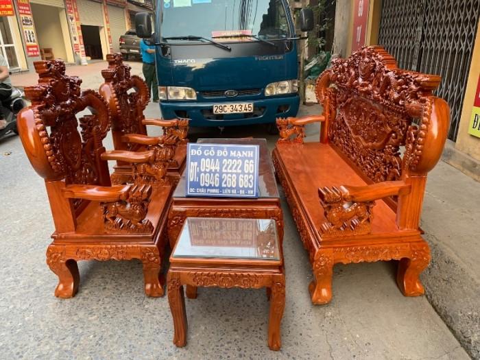 Bộ bàn ghế nghê đỉnh tay khuỳnh gỗ gõ đỏ12
