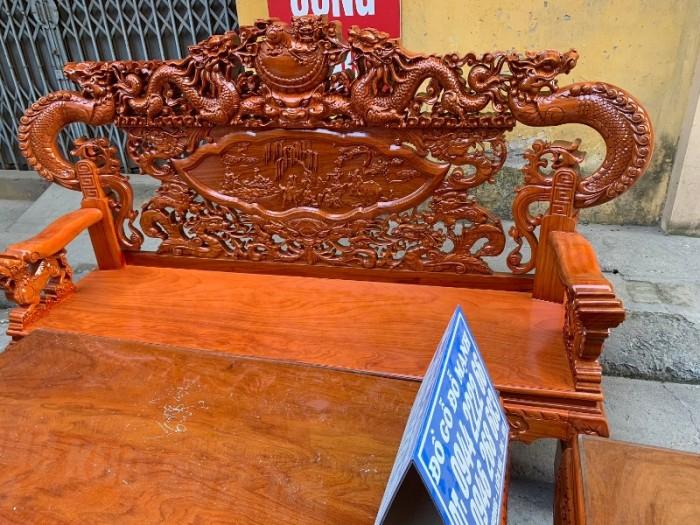 Bộ bàn ghế nghê đỉnh tay khuỳnh gỗ gõ đỏ14