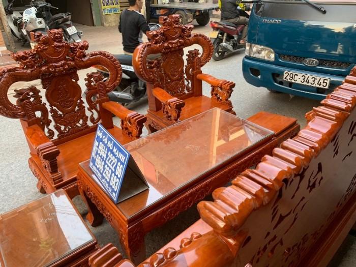 Bộ bàn ghế nghê đỉnh tay khuỳnh gỗ gõ đỏ11