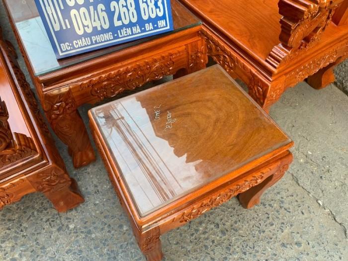 Bộ bàn ghế nghê đỉnh tay khuỳnh gỗ gõ đỏ9