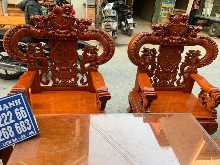 Bộ bàn ghế nghê đỉnh tay khuỳnh gỗ gõ đỏ15