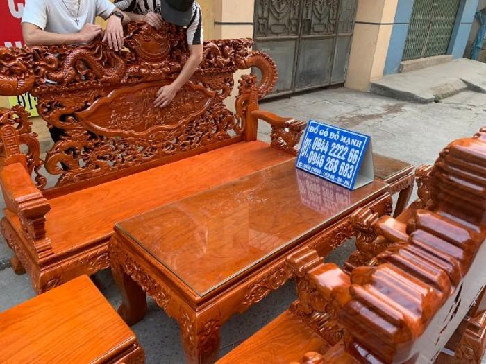 Bộ bàn ghế nghê đỉnh tay khuỳnh gỗ gõ đỏ10