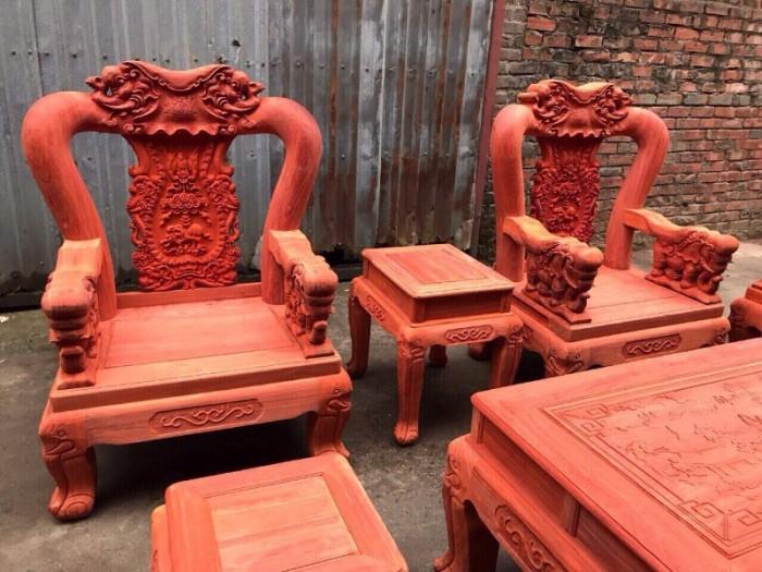 Bộ bàn ghế minh quốc voi gỗ hương nam phi tay 1215