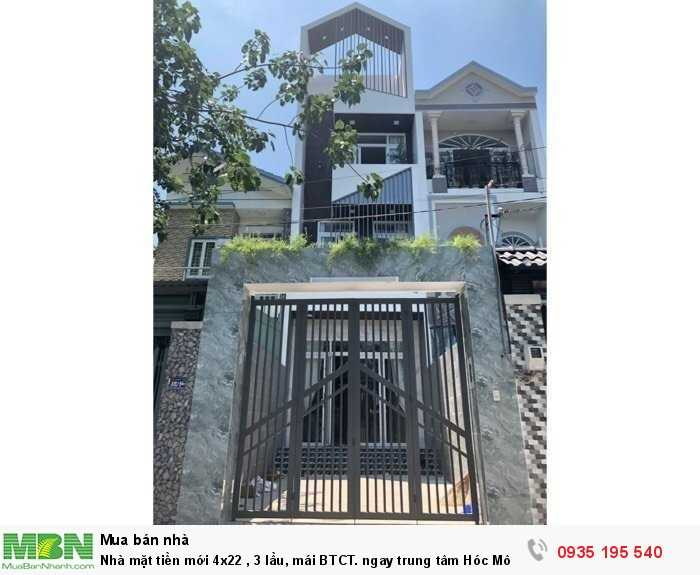 Nhà mặt tiền mới 4x22 , 3 lầu, mái BTCT. ngay trung tâm Hóc Môn