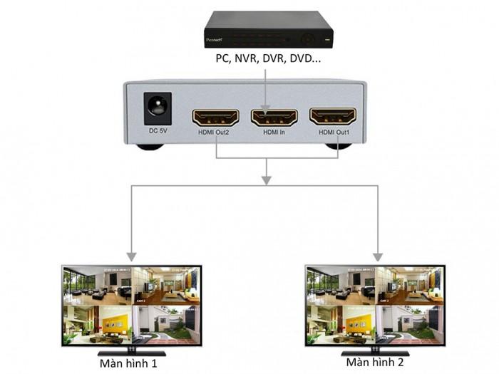 Bộ chia HDMI 2 cổng DT-7142A hỗ trợ 1 cổng vào HDMI và xuất tín hiệu ra 2 cổng HDMI.