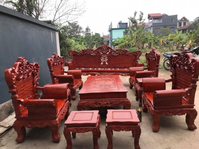 Bộ bàn ghế phòng khách kiểu hoàng gia gỗ hương đá19