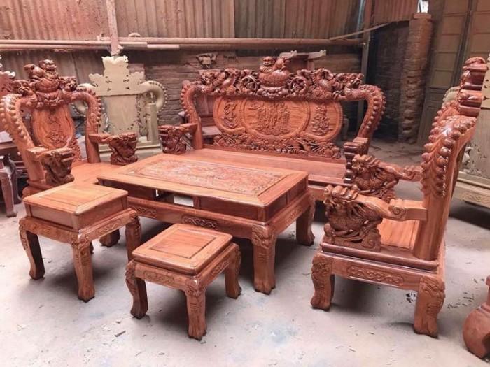 Bộ bàn ghế rồng phượng,rồng mai gỗ hương đá12