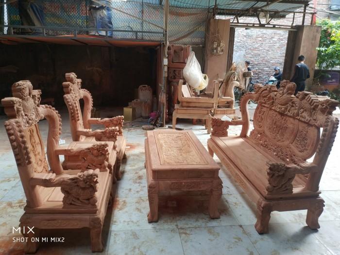 Bộ bàn ghế rồng phượng,rồng mai gỗ hương đá10