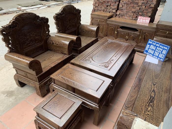 Bộ bàn ghế khổng tử gỗ mun đuôi công6