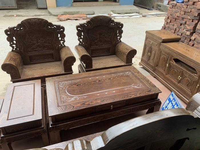 Bộ bàn ghế khổng tử gỗ mun đuôi công1