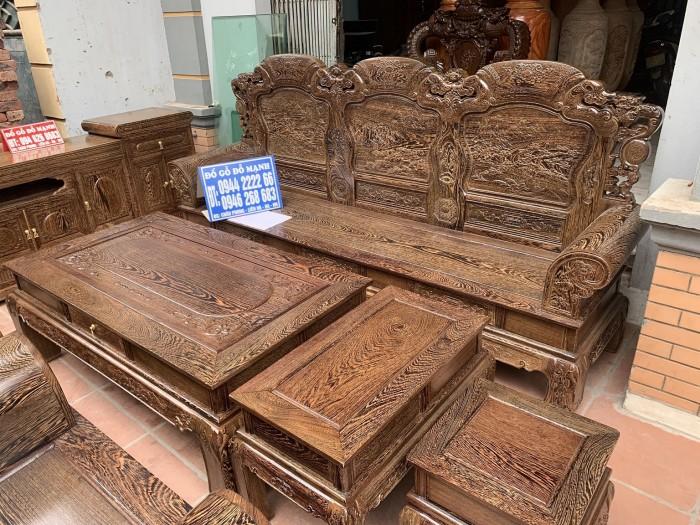 Bộ bàn ghế khổng tử gỗ mun đuôi công4