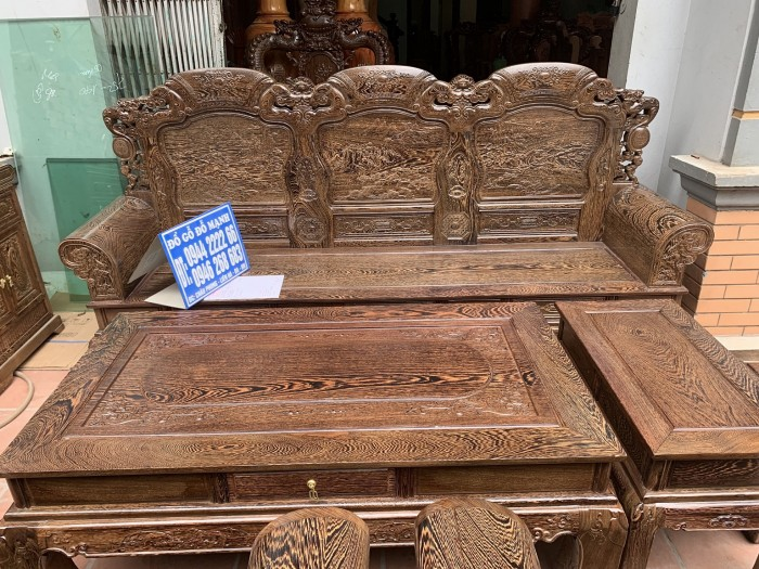 Bộ bàn ghế khổng tử gỗ mun đuôi công9