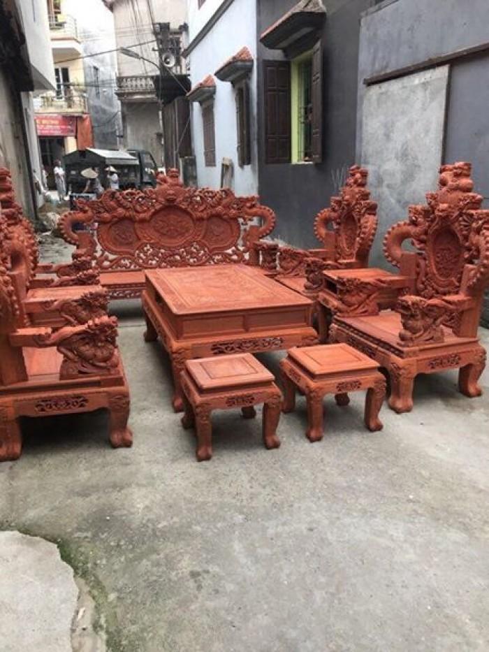 Bộ bàn ghế trạm nghê đỉnh tay khuỳnh gỗ hương đỏ nam phi13