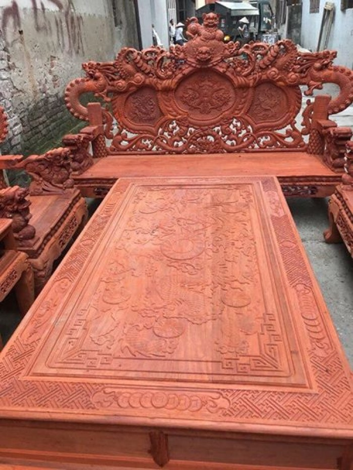 Bộ bàn ghế trạm nghê đỉnh tay khuỳnh gỗ hương đỏ nam phi16