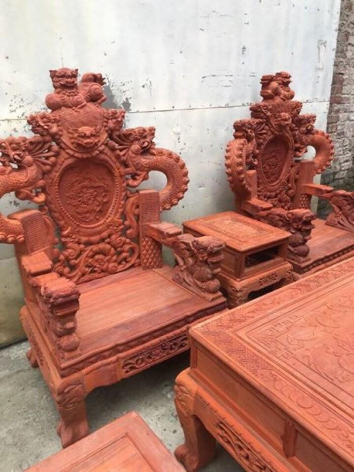 Bộ bàn ghế trạm nghê đỉnh tay khuỳnh gỗ hương đỏ nam phi12
