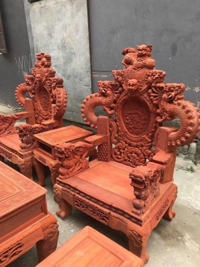Bộ bàn ghế trạm nghê đỉnh tay khuỳnh gỗ hương đỏ nam phi15