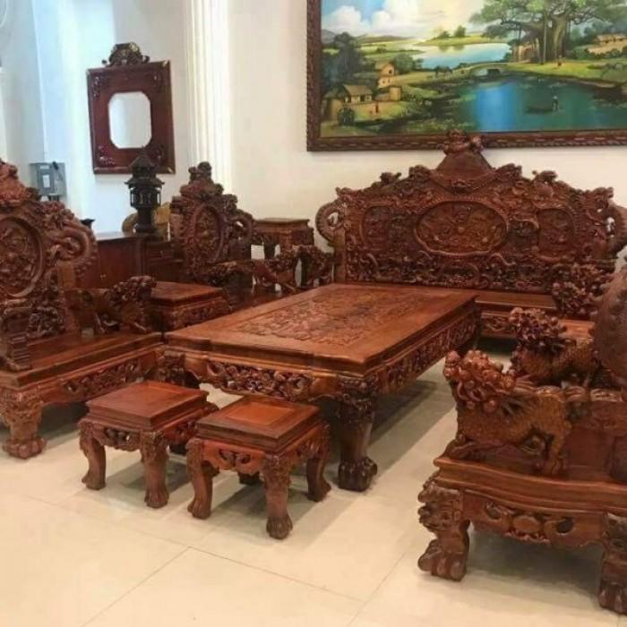 Bộ bàn ghế đồng kỵ nghê đỉnh gỗ hương đỏ13