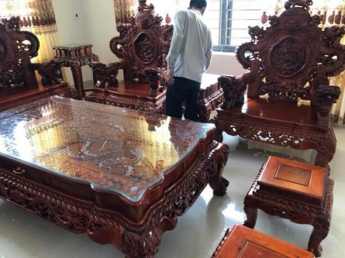Bộ bàn ghế đồng kỵ nghê đỉnh gỗ hương đỏ12