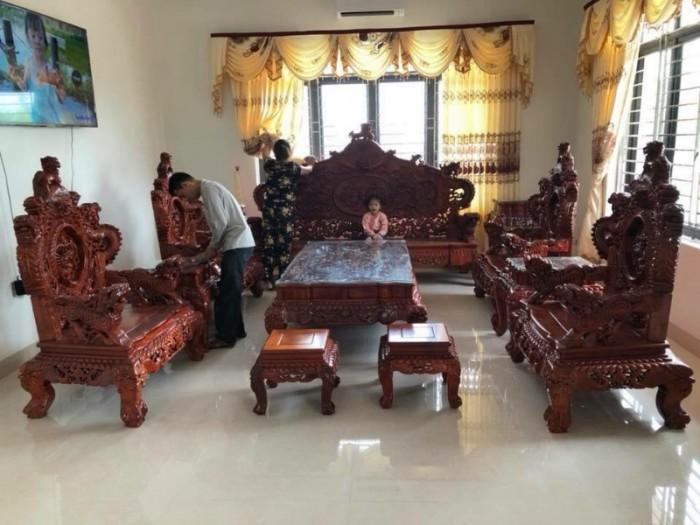 Bộ bàn ghế đồng kỵ nghê đỉnh gỗ hương đỏ11