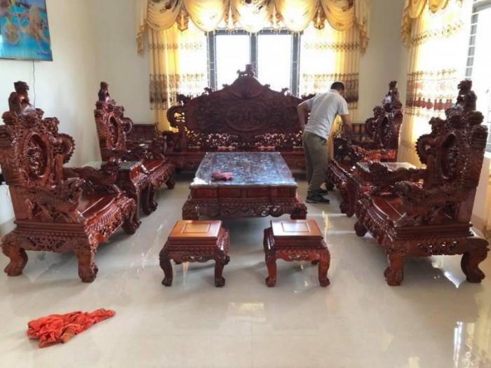 Bộ bàn ghế đồng kỵ nghê đỉnh gỗ hương đỏ15