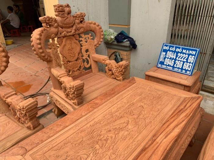 Bộ bàn ghế giả cổ nghê khuỳnh gỗ hương đá16