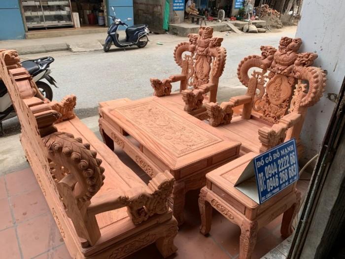Bộ bàn ghế giả cổ nghê khuỳnh gỗ hương đá12
