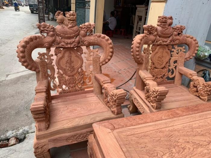 Bộ bàn ghế giả cổ nghê khuỳnh gỗ hương đá11