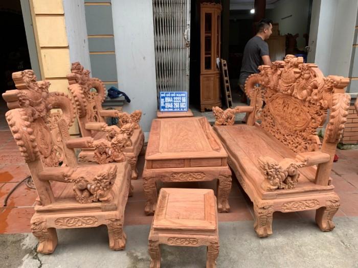 Bộ bàn ghế giả cổ nghê khuỳnh gỗ hương đá10